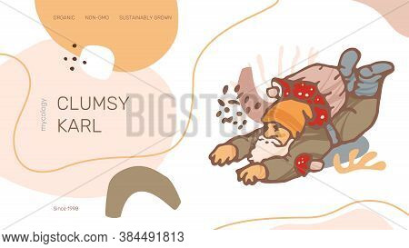 Clumsy Karl Web Site Header Or Banner Vector Template. Modern Abstract Organic Shapes, Gnome Illustr