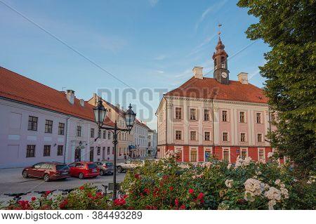 Tartu, Estonia, 01 August 2020 City Center, Town Hall, Summer Evening, White Nights In The Baltics.