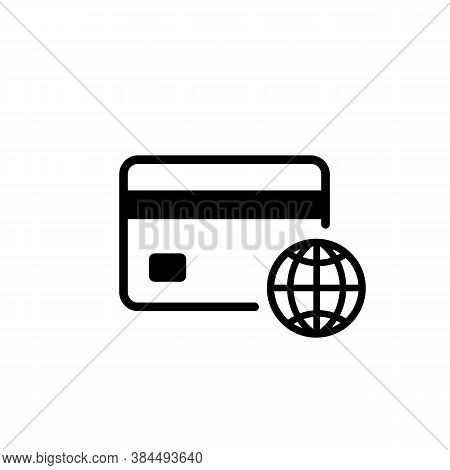 Credit Card With Globe Icon. Global Money Transfer Concept. Worldwide Banking. Vector On Isolated Wh