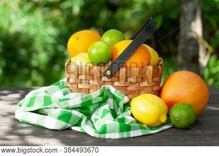 Variuos citrus fruits in basket on garden table. Oranges, lemons, limes and grapefruit