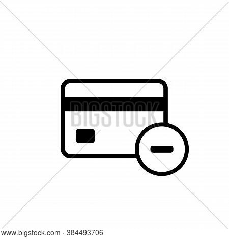 Credit Card Icon With Minus Sign. Decline And Remove Concept. Vector On Isolated White Background. E