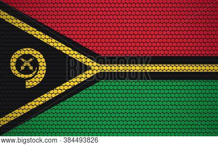 Abstract Flag Of Vanuatu Made Of Circles. Ni-vanuatu Flag Designed With Colored Dots Giving It A Mod