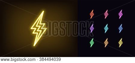 Neon Thunderbolt Icon. Glowing Neon Lightning Bolt, Electrical Storm In Vivid Colors. Bright Electri