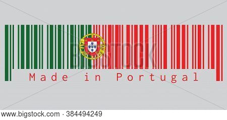 Barcode Set The Color Of Portugal. Flag, 2:3 Vertically Striped Bicolor Of Green And Red, With Coat