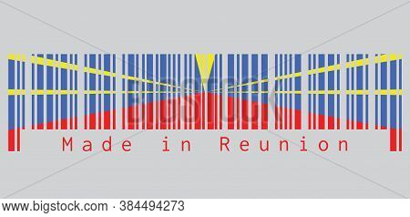 Barcode Set The Color Of Reunion Flag, Red Yellow And Blue Color. Text: Made In Reunion, Concept Of