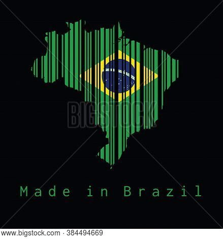 Barcode Set The Shape To Brazil Map Outline And The Color Of Brazil Flag On Black Background With Te