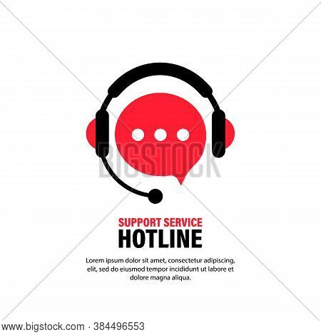 Hotline Support Service With Headphones. Assistant Operator Ringing Badge, Call Center. Support, Con