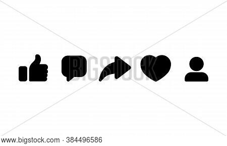 Social Media Icon. Thumbs Up, Repost, Sharing, Like, Comment. Vector On Isolated White Background. E