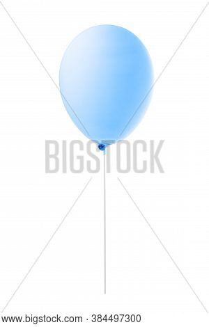 Blue Flying Balloon Isolated On White Background With Clipping Path