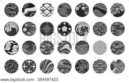 Japanese Emblem And Symbol Round Shape Vector Illustration.water Sea Ocean Wave, Chinese Cloud And W