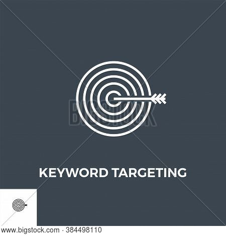 Keyword Targeting Related Vector Thin Line Icon. Isolated On Black Background. Vector Illustration.