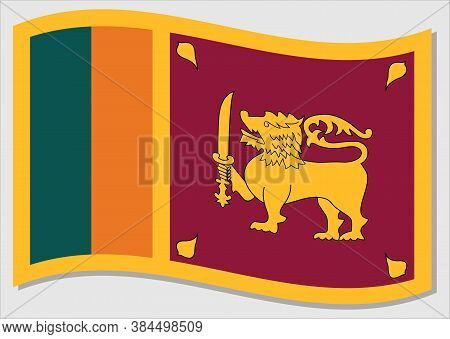 Waving Flag Of Sri Lanka Vector Graphic. Waving Sri Lankan Flag Illustration. Sri Lanka Country Flag