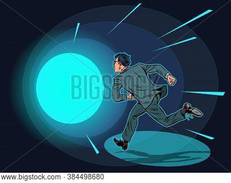 Death A Man Runs In A Tunnel Of Light. Pop Art Retro Vector Illustration Kitsch Vintage 50s 60s Styl