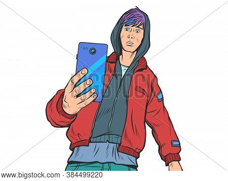 Boy Teenager With Smartphone. Pop Art Retro Vector Illustration Kitsch Vintage 50s 60s Style