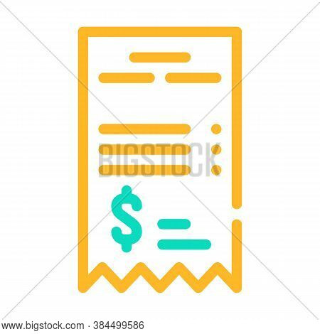 Betting Receipt Color Icon Vector Isolated Illustration
