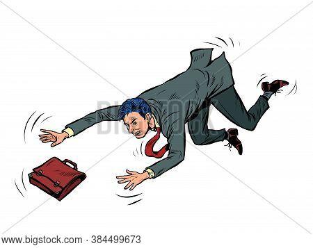 The Businessman Falls. Failure Problem Bankruptcy. Pop Art Retro Vector Illustration Kitsch Vintage