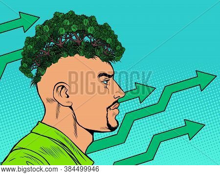 Male Ecologist. Ecology In Thoughts Concept. Parks And Forests. Pop Art Retro Vector Illustration Ki