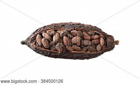 Cocoa Pod With Cocoa Beans Isolated On White Background. Organic Food. Natural Chocolate. Top View.