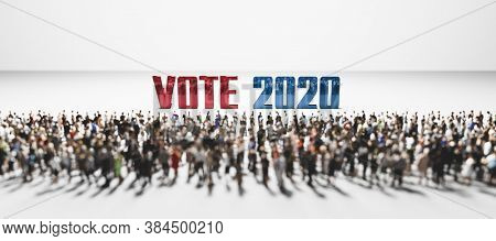 Vote 2020 slogan in front of large group of people. Political incentive conceptual 3D illustration