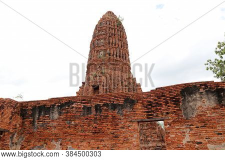 The Main Phra Prang Or Pagoda, The View From The Church In The Ruins Of Ancient Remains At Wat Worac