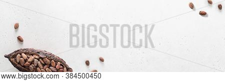 Cocoa Pod And Cocoa Beans On A White Background. Organic Food. Natural Chocolate. Top View. Chocolat