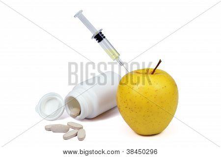 Apple Syringe And Vitamins