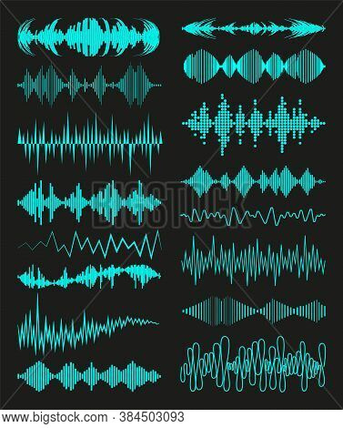 Big Collection With Music Waves Logo And Audio Symbols On Black Background. Modern Sound Equalizer E