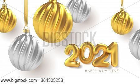 2021 Happy New Year. Christmas Tree Toys Of Silver And Gold, Spiral Balls In White Background. Vecto