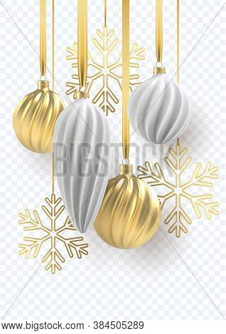 2021 Happy New Year. Christmas Tree Toys Of Silver And Gold, Spiral Balls And Snowflakes On Transpen