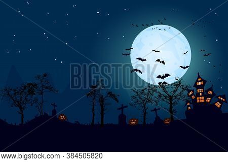 Halloween Horror Landscape With Full Moon Banner. Haunted House, Pumpkins, Cemetery Cross And Bats.