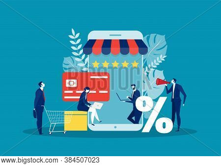 Business Online Shopping. Phone Shop, E-commerce, Online E-commerce, Marketing Purchase, Order Elect
