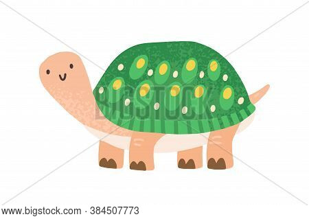 Cute Childish Turtle Character In Scandinavian Style. Flat Vector Cartoon Textured Illustration Of F