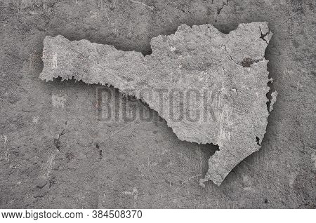 Detailed And Colorful Image Of Map Of Santa Catarina On Weathered Concrete