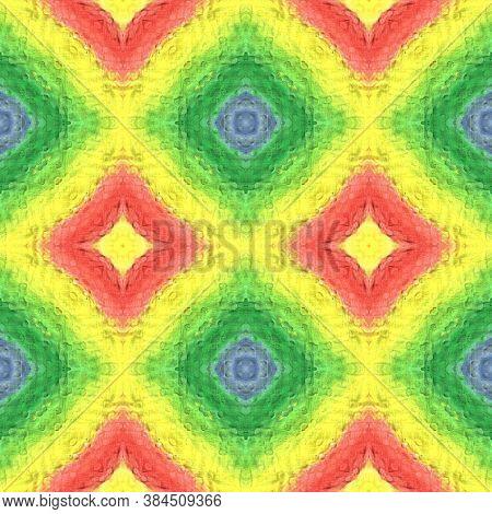 Tibetan Fabric. Yellow, Red, Green Seamless Texture. Abstract Batik Print. Seamless Tie Dye Illustra