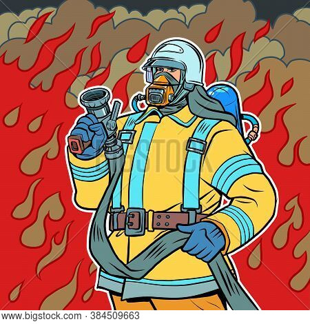 Fireman, Firefighter Male Professional. Comics Caricature Pop Art Retro Illustration Hand Drawn