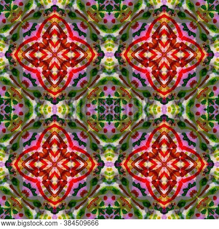 Geometric Rug Pattern. Abstract Ikat Design. Red, Green, Blue And Brown Seamless Texture. Repeat Tie