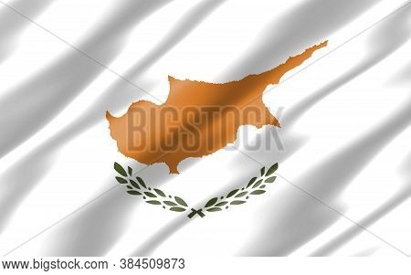 Silk Wavy Flag Of Cyprus Graphic. Wavy Cypriot Flag Illustration. Rippled Cyprus Country Flag Is A S