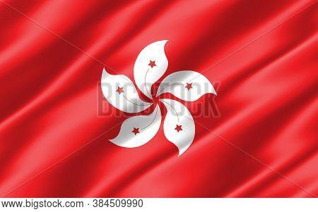 Silk Wavy Flag Of Hong Kong Graphic. Wavy Hongkonger Flag Illustration. Rippled Hong Kong Country Fl
