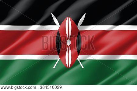 Silk Wavy Flag Of Kenya Graphic. Wavy Kenyan Flag Illustration. Rippled Kenya Country Flag Is A Symb
