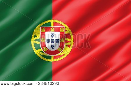 Silk Wavy Flag Of Portugal Graphic. Wavy Portugese Flag Illustration. Rippled Portugal Country Flag
