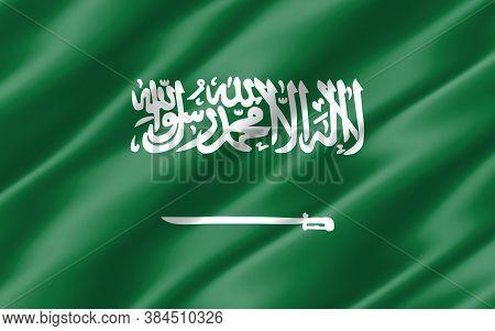 Silk Wavy Flag Of Saudi Arabia Graphic. Wavy Saudi Arabian Flag Illustration. Rippled Saudi Arabia C