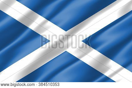 Silk Wavy Flag Of Scotland Graphic. Wavy Scottish Flag Illustration. Rippled Scotland Country Flag I