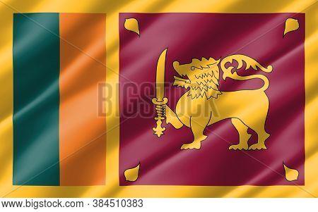 Silk Wavy Flag Of Sri Lanka Graphic. Wavy Sri Lankan Flag Illustration. Rippled Sri Lanka Country Fl