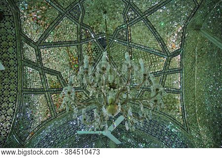 Yazd / Iran - 01 Oct 2012: The Dome Of Imam Zadeh Jafar Mausoleum, Mirror Mosque, Yazd, Iran