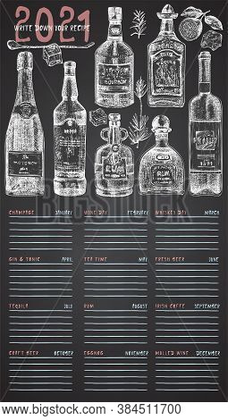 2021 Cover Page Of Wall Vintage Calendar Planner. Alcohol Bar Theme. Champagne, Wine, Tequila, Gin,