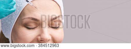 Cosmetology Skin Care. Face Derma Injection. Facial Treatment. Nanotechnology. Woman Dermatology Doc