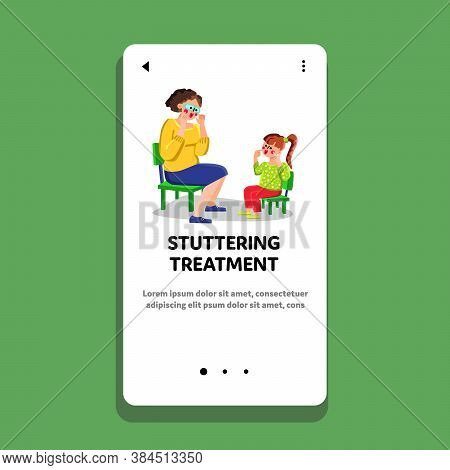Stuttering Treatment In Therapist Cabinet Vector Illustration