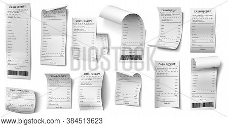 Realistic Bills. Shopping Purchase Bill, Retail Payment Purchase Blank, Supermarket Sale Paper Isola