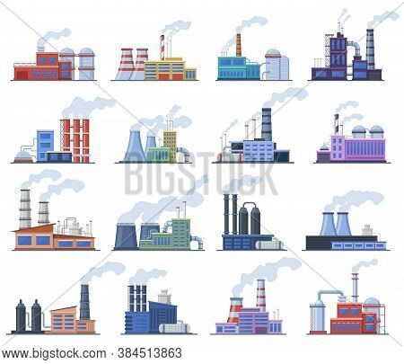 Industrial Factory. Manufacturing Building, Chimney Pipe Factory, Warehouse, Power Station, Factory