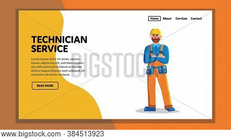 Technician Service Worker Technical Support Vector Illustration